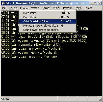 Zrzut ekranu edytora ED